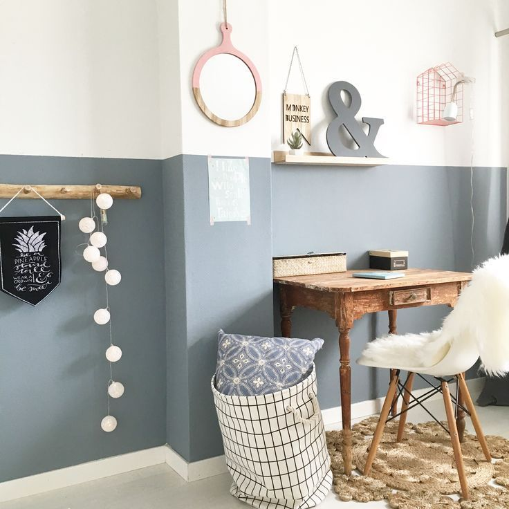 Girls Room; Paint Color Denim Drift Blue Gray Wall Femke