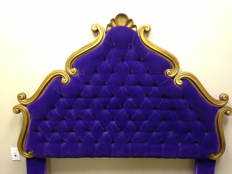 Vintage Tufted Velvet Upholstered Headboard Full Or By Eskimosis