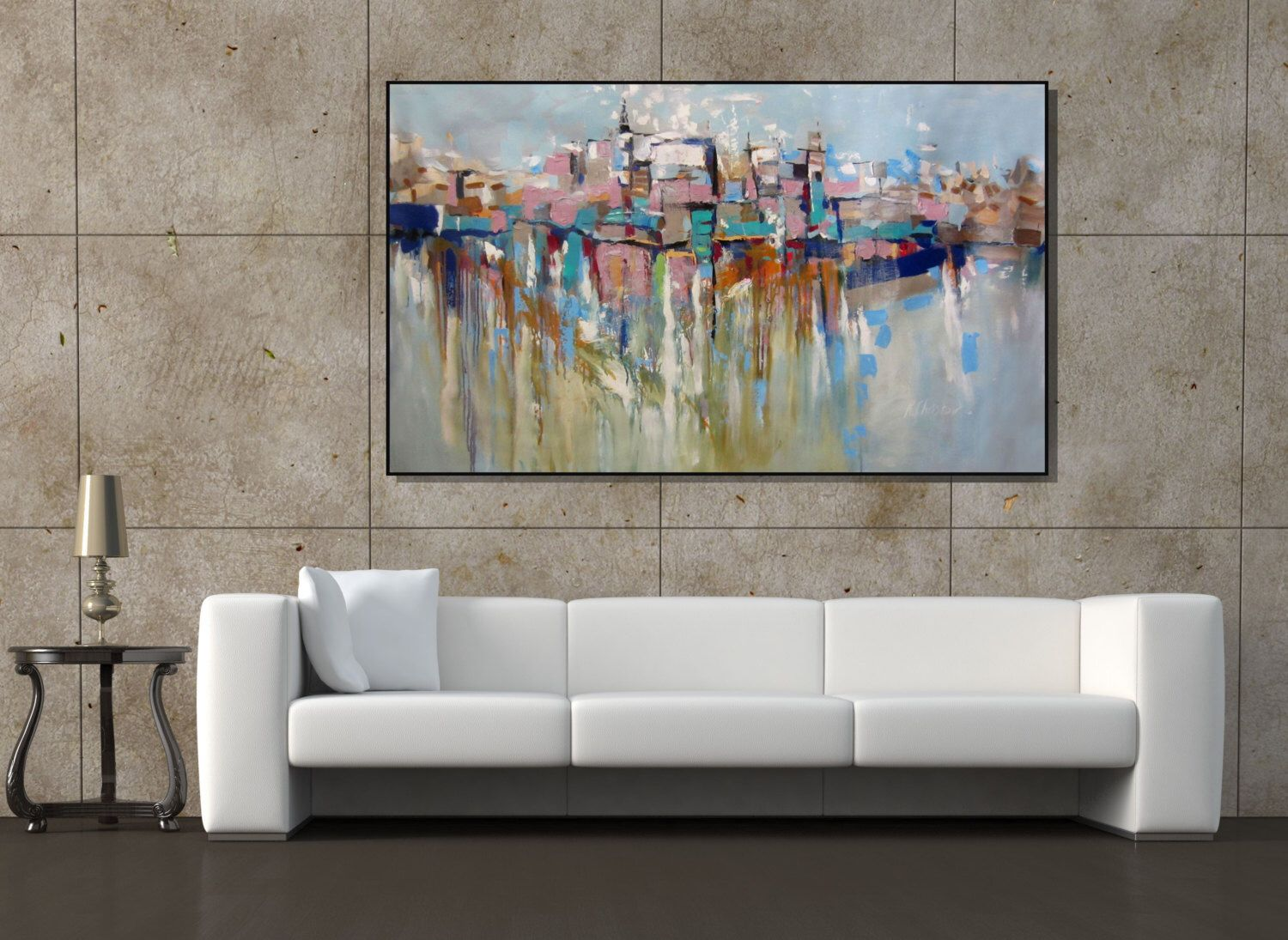 Large Paintings For Living Room Wall Art Extra Large Painting Cityscape Abstract Painting Textured