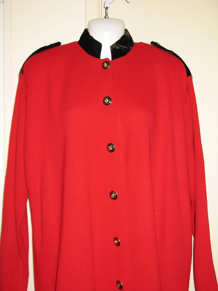 Karen Lessly Womens Red and Black Velour Button-Down Sweater Jacket, Large #KarenLessly #Collared