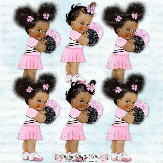 Cheerleader Pink White Uniform Pom Poms Sneakers Baby Girl Etsy Black Girl Cartoon Cheerleader Clipart Funny Cartoon Faces