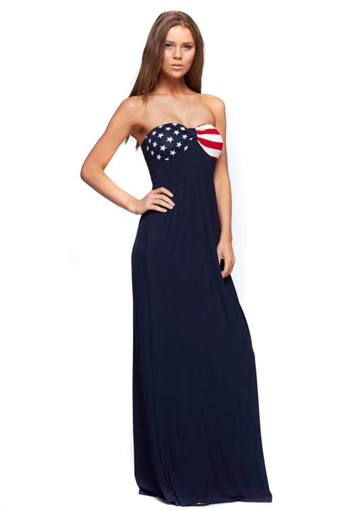 American Flag Navy Blue Patriotic Design Maxi Dress U.S.A - M  76bf032e3