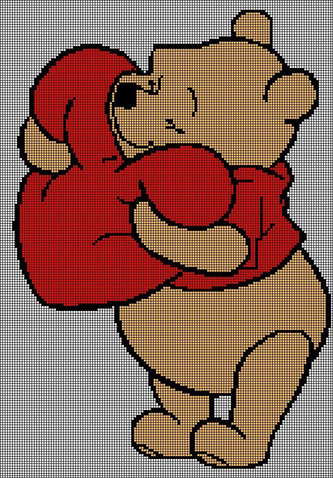Winnie The Pooh With Heart Tunisian Simple Stitch Crochet Afghan