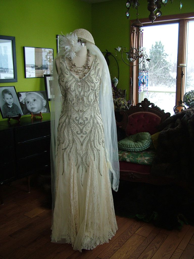 Beaded Deco Vines 1920s Style Wedding Dress Very Tres Chic 1920s Wedding Dress 1920s Style Wedding Dresses Wedding Dress Cap Sleeves