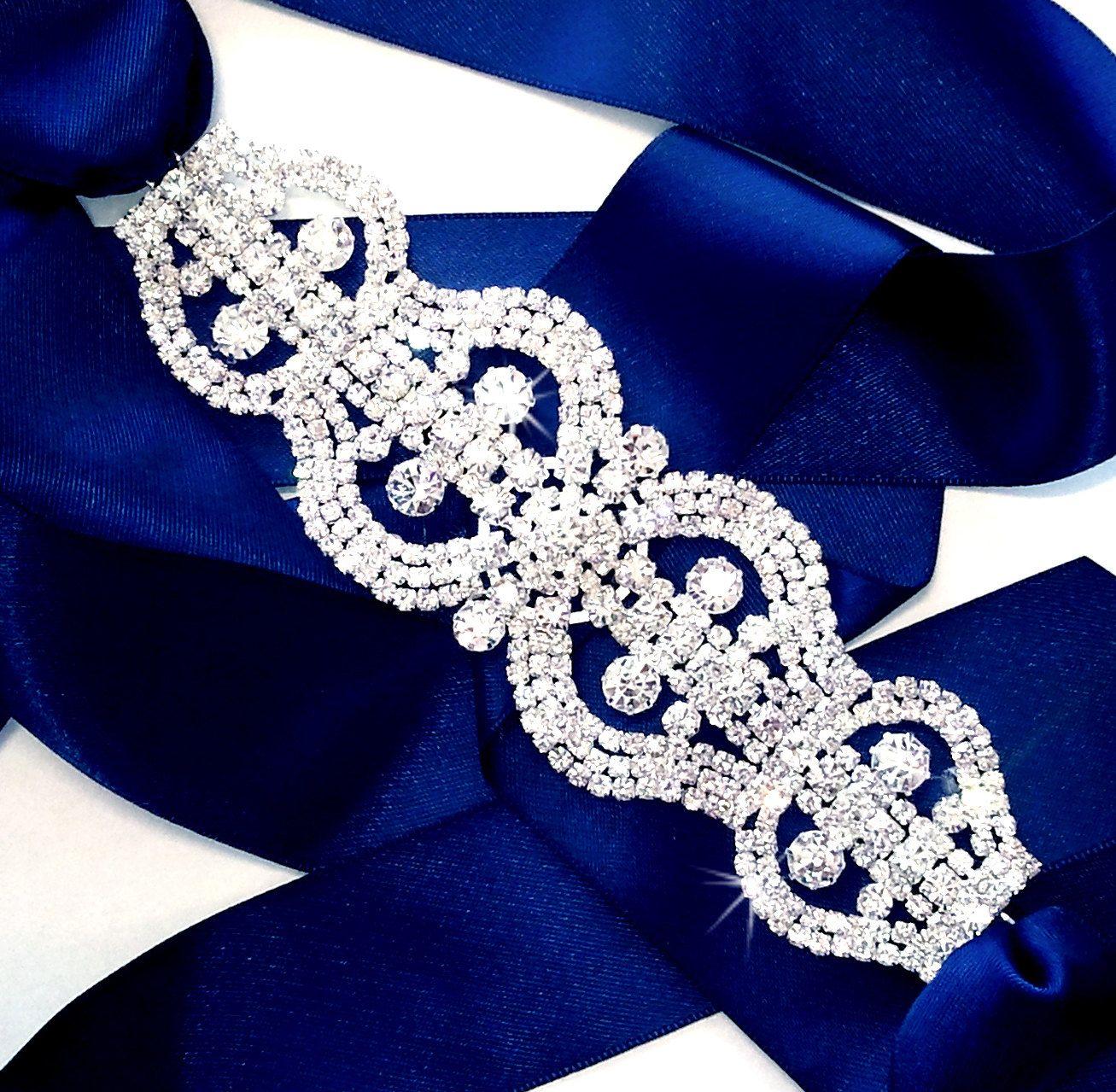 Rhinestone Encrusted Bridal Belt Sash Custom Navy by