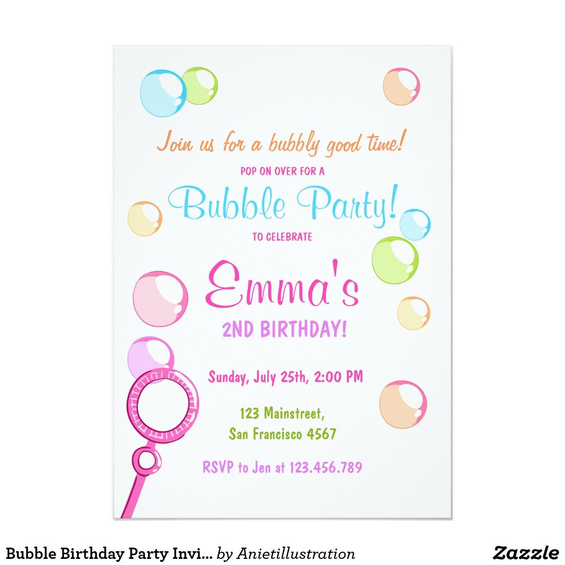 Bubble Birthday Party Invitation POP Birthday Girl | Bubble party ...