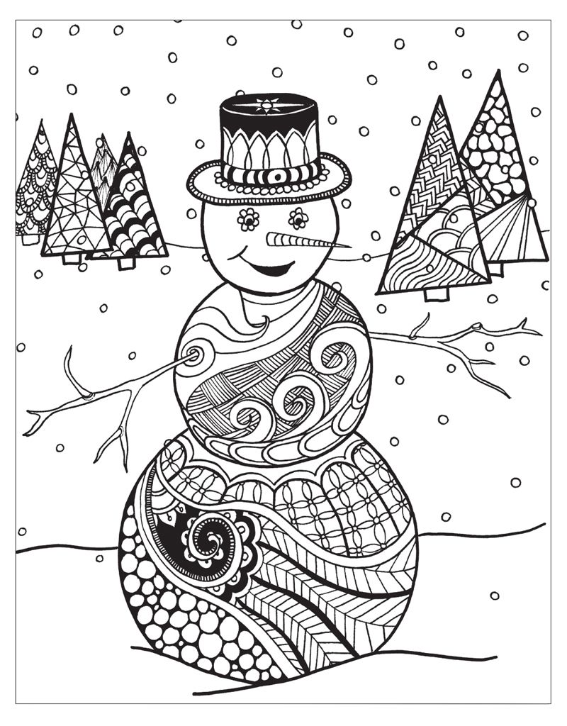 Zendoodle Coloring Winter Wonderland Jodi Best Macmillan Coloring Pages Winter Snowman Coloring Pages Christmas Coloring Pages