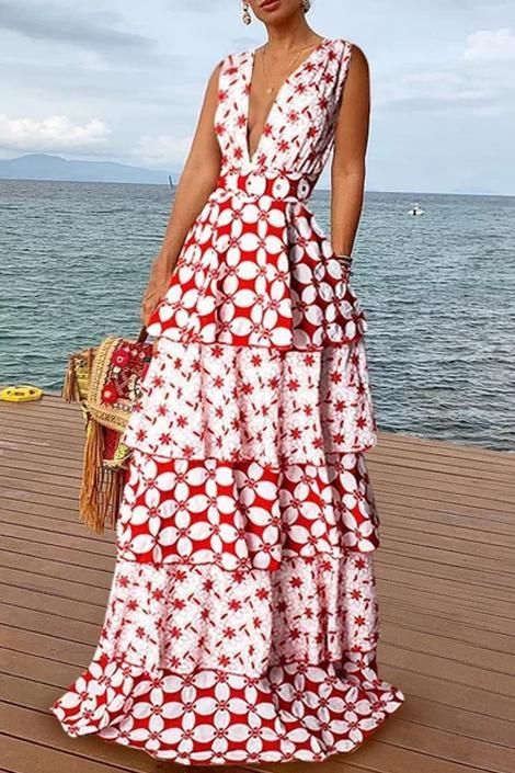 Bohemian V Neck Sleeveless Printed Colour Tiered Skirt 1