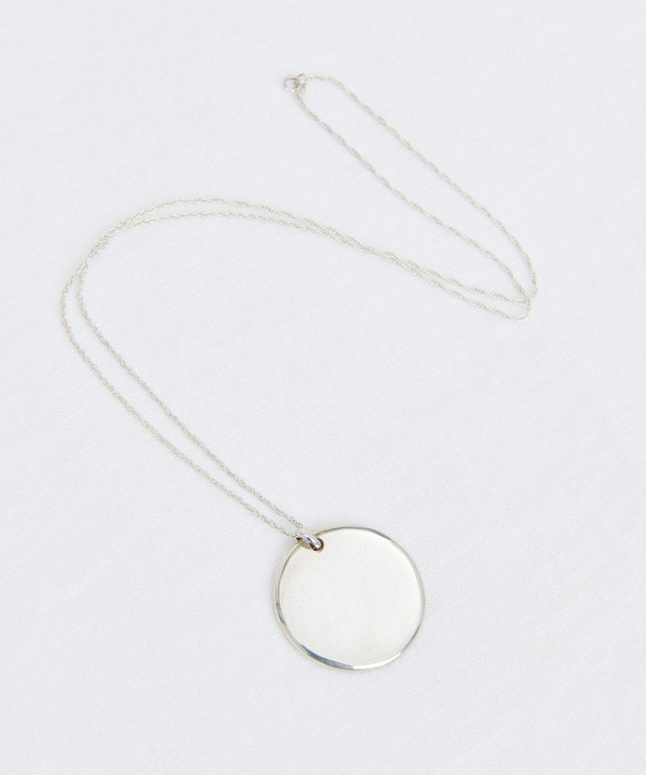 Large Simple Circle Pendant Silver Circle Pendant Necklace