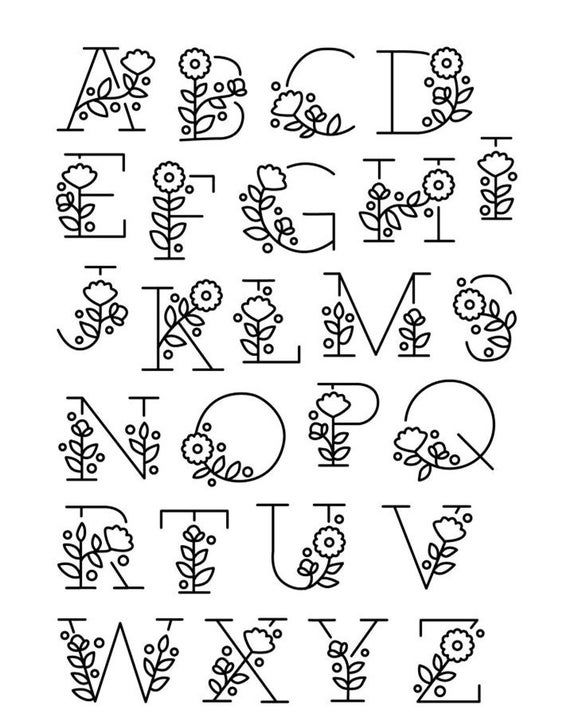 English Alphabet Clear Stamp with flower / Creative Letter Silicone Stamp / Clear Stamp / Scrapbooking Stamp / Bullet Journal Stamp CS1061