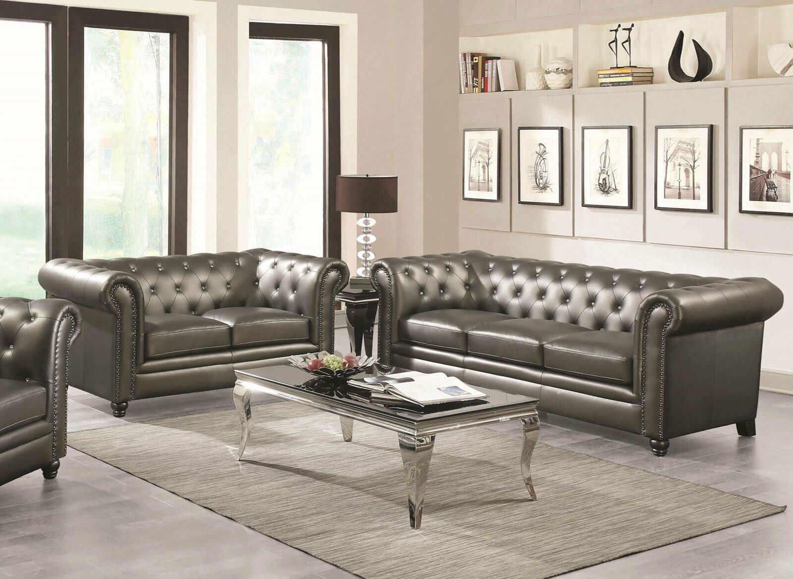 Dark Gray Faux Leather Sofa Loveseat Traditional Design ...