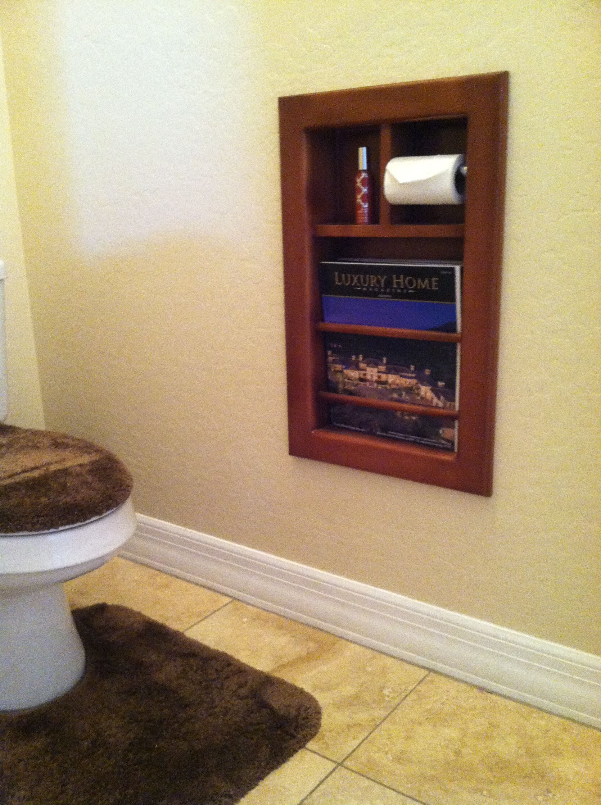 Built In Magazine Rack And Toilet Paper Roll For Toilet Room Closet Renovation Toilet Room Recessed Toilet Paper Holder