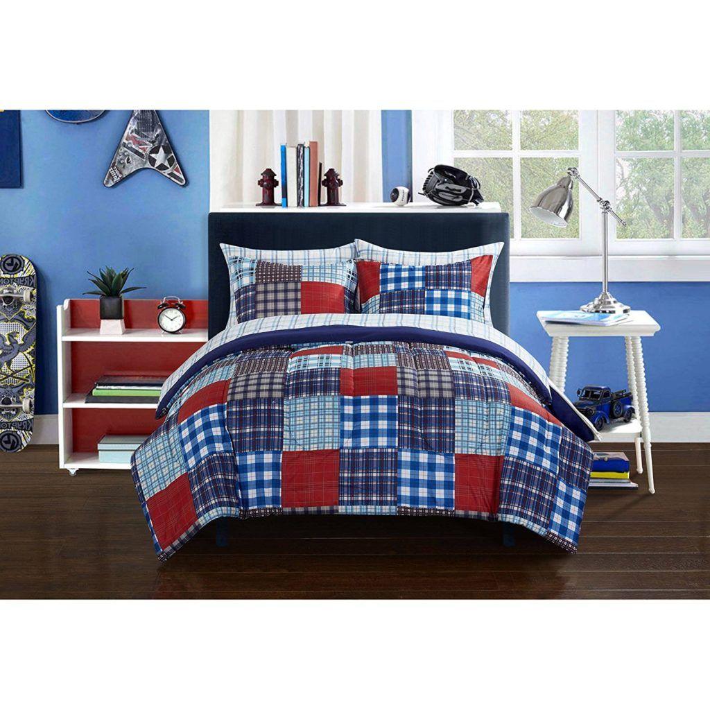 Boy plaid bedding - Red White Blue Boys Comforter Set Mainstays Kids Plaid Blue Patch Reversible White Bedding Full Comforter
