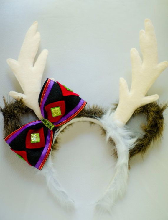 Mickey Mouse Ear Reindeer Antler Headband Inspired By Frozens Sven These Ears Are Covered With A Brown White Faux Fur Gray Beige Felt
