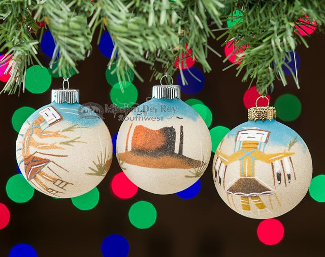 This is a unique three piece set of Native American, sand painted Christmas  ornaments. - This Is A Unique Three Piece Set Of Native American, Sand Painted