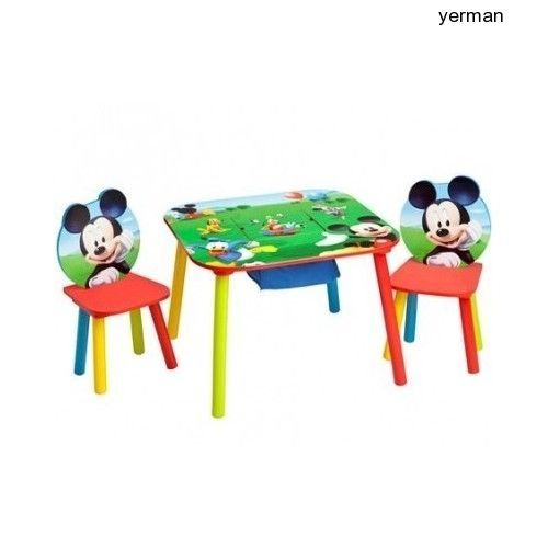 Disney Table Chairs Mickey Mouse Kids Storage Set Furniture Wood Play New  Room #Disney