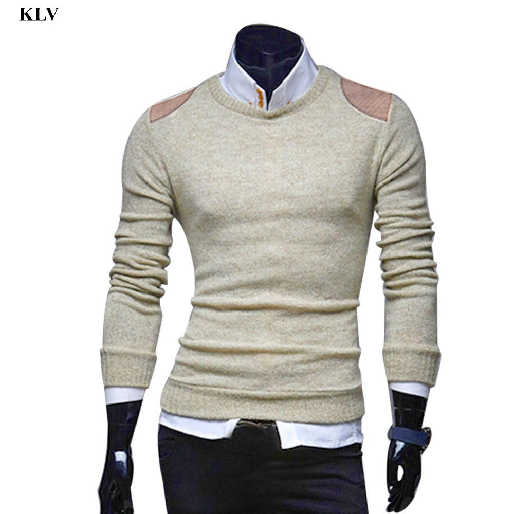 a54b5bcc003e7 Men Autumn Winter Slim Fashion Sweater Casual Patchwork Warm ...