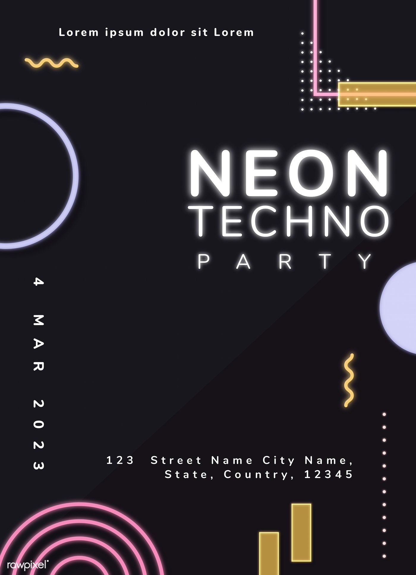 Download premium vector of Neo Memphis invitation template vector