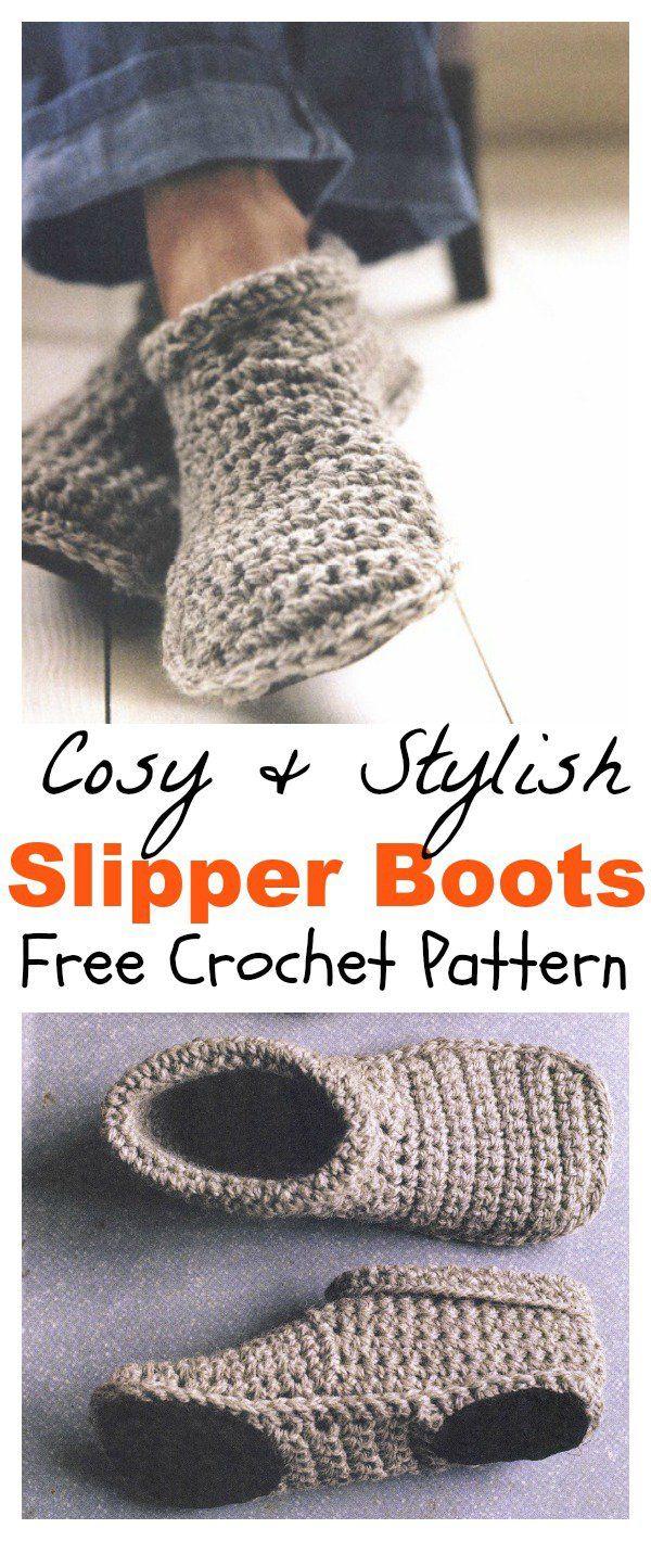 Cosy And Stylish Slipper Boots Free Crochet Pattern | Slipper boots ...