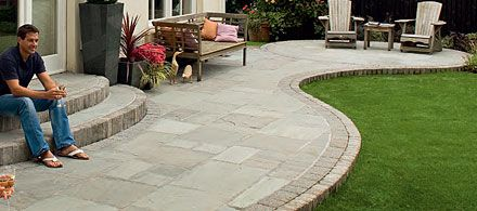 Patio Paving Jpg 440 195 Pixels With Images Curved Patio