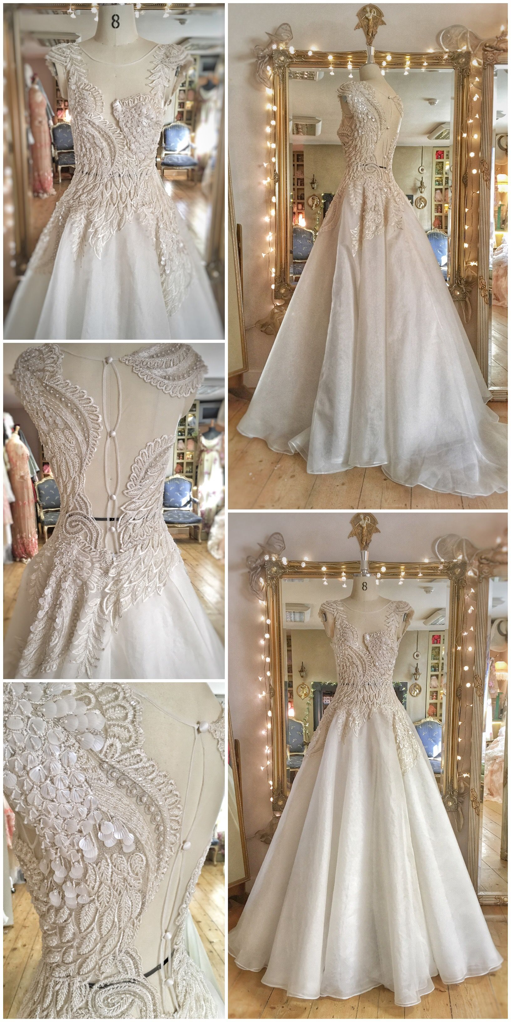 Wedding dress preservation kit  Beaded Feather Ballerina Wedding Dress with Swan Wing Detail  Silk