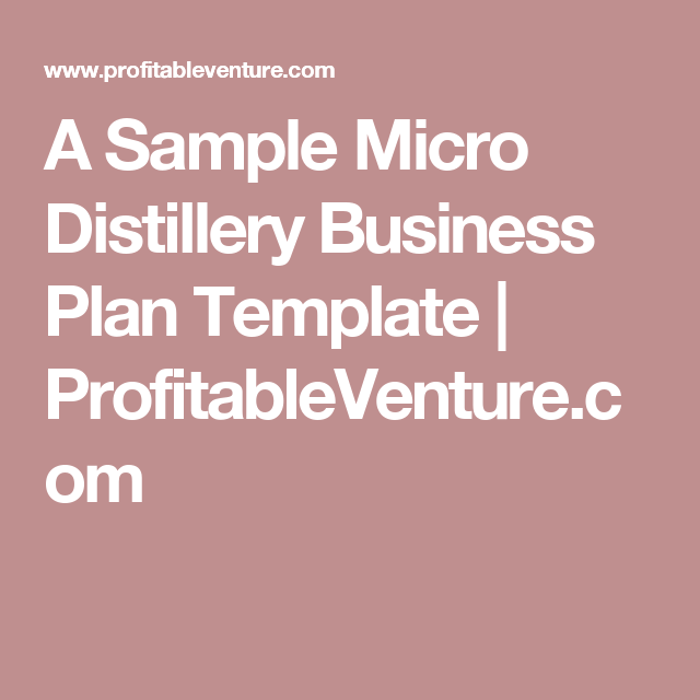 Distillery business plan
