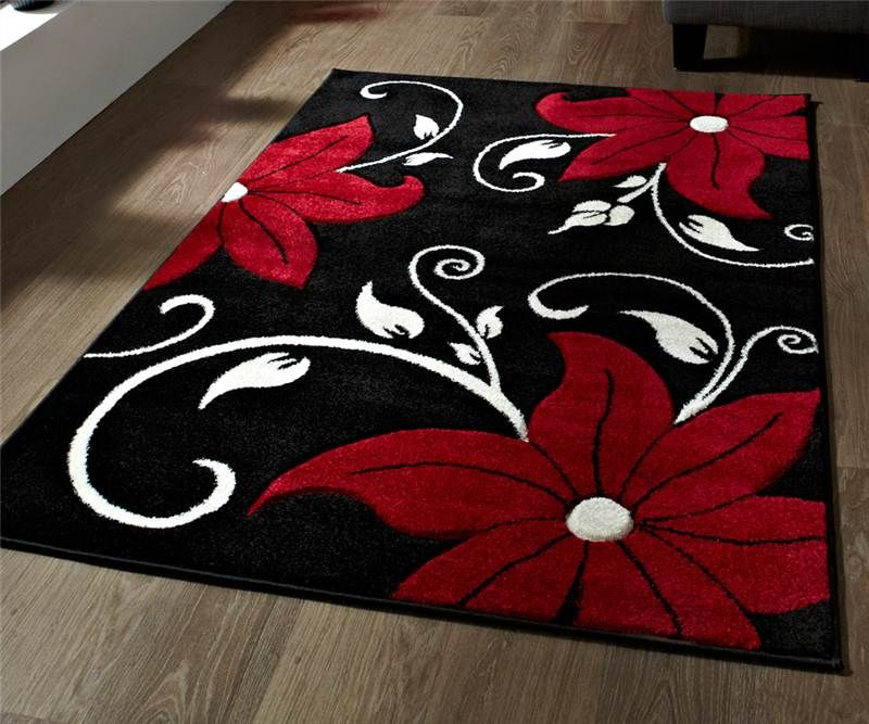 Black And Red Rug Stunning Floral Flower Pattern Large Rug