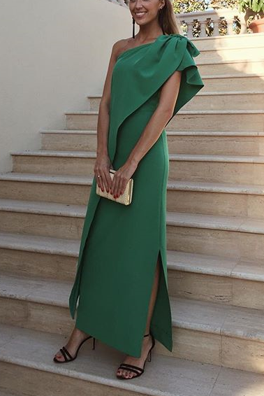 73171b9da30 Sexy One Shoulder Green Bow Slit Maxi Dress in 2019 | Green Dresses ...