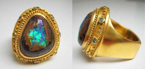 Custom ring, Boulder Opal, 22K gold, artist Julie Rauschenberger