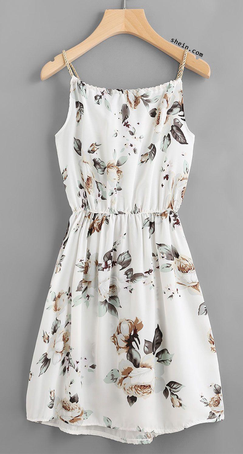 Floral print random drawstring elastic waist cami dress outfits