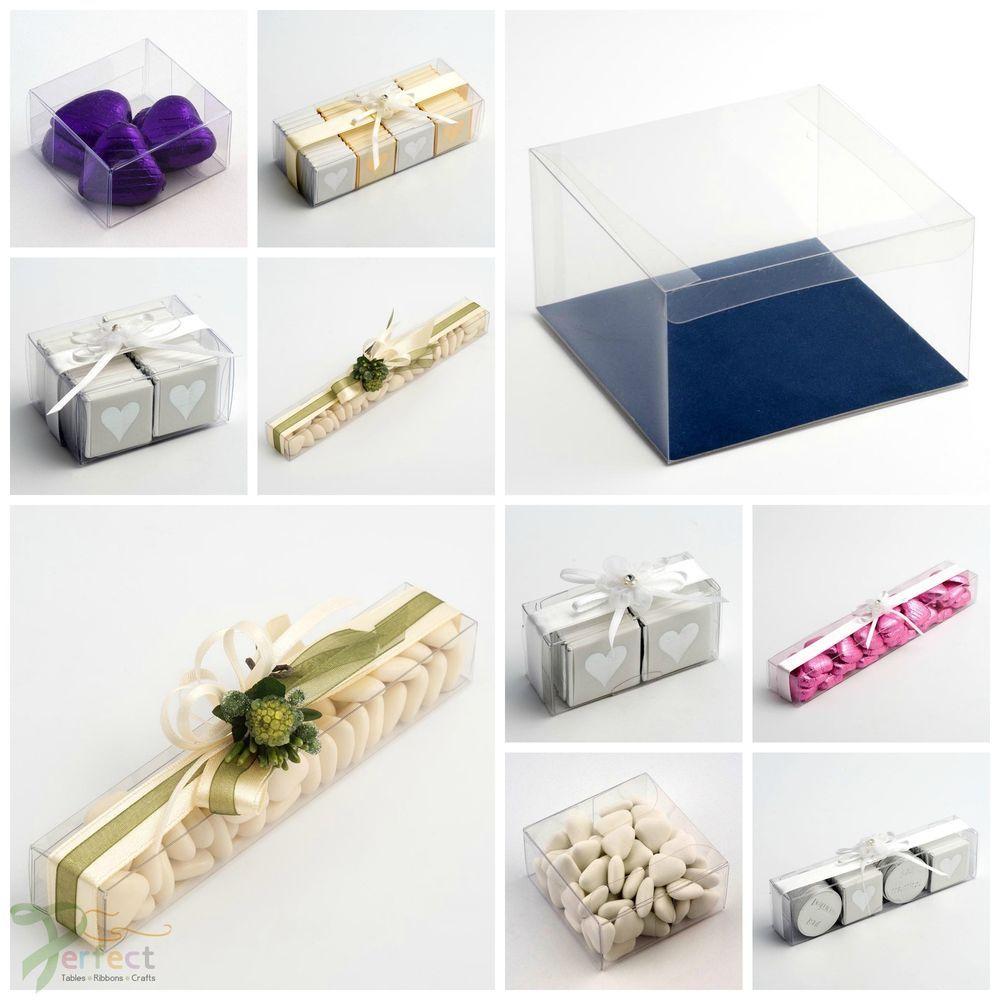 Luxury DIY Wedding Favour Gift Boxes Transparent PVC Clear ...