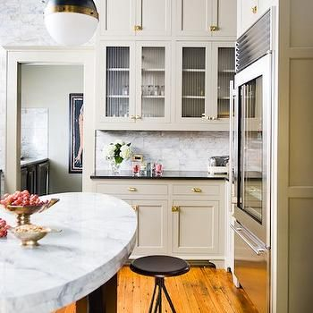 Oval KItchen Island (With images) | White marble ...