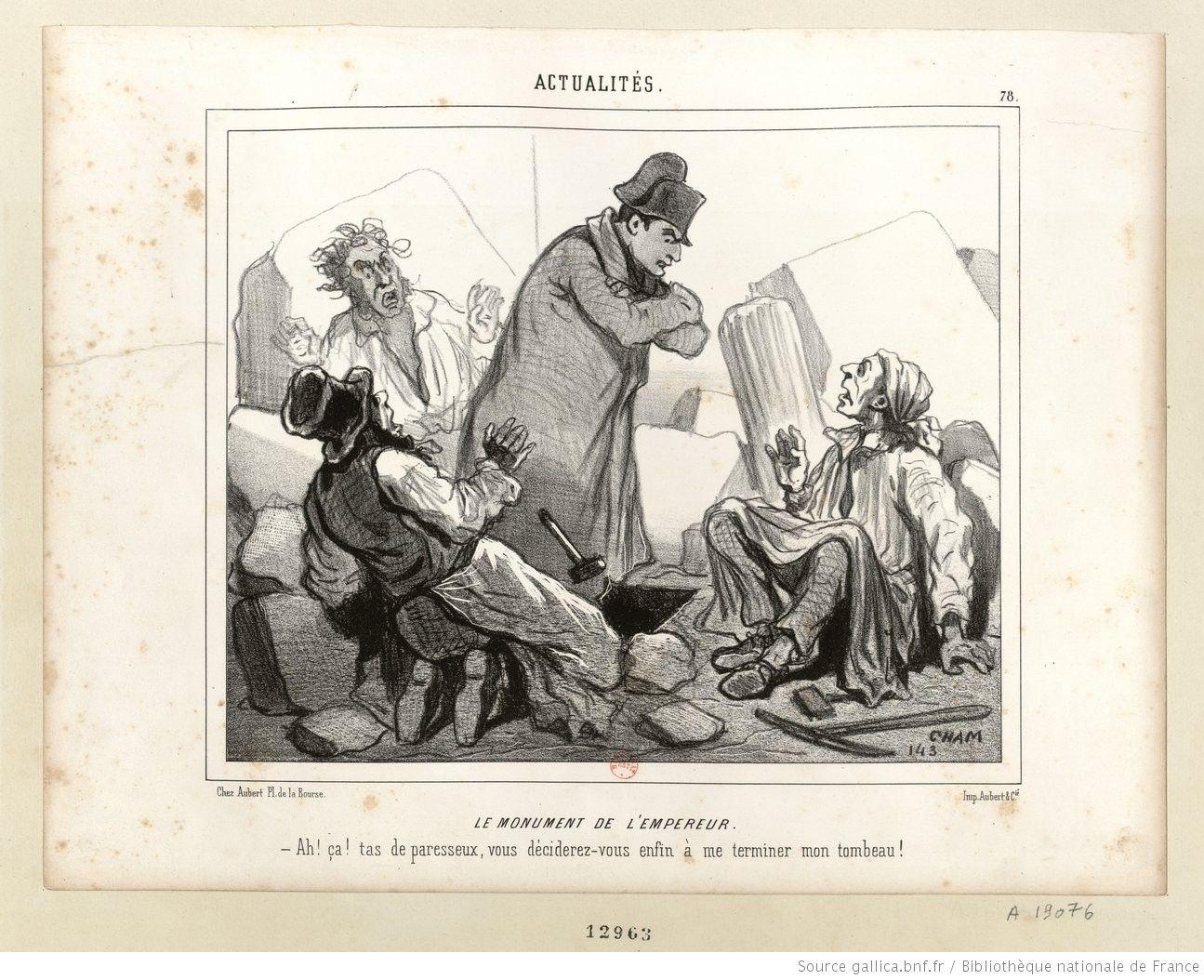 Anonimo, Napoleone sgrida gli operai che non hanno ancora finito la sua tomba (disegno satirico dell'epoca)
