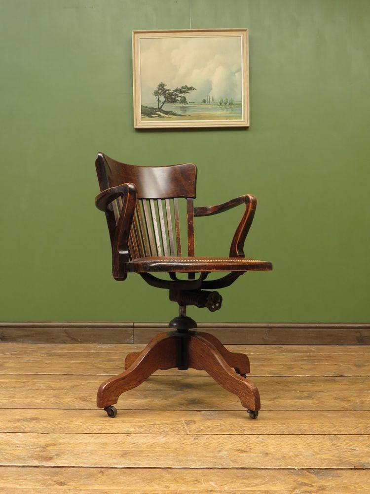 Enjoyable Antique Office Chair Leather Seat Oak Swivel Captains Chair Lamtechconsult Wood Chair Design Ideas Lamtechconsultcom