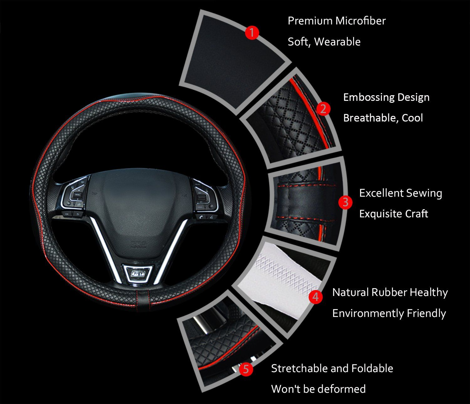 Universal 15 Inch Steering Cover Rueesh Microfiber Leather Car Steering Wheel Cover Soft Padding Black with Red Line No Smell Durable Anti-slip Embossing Pattern A