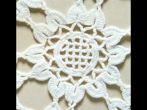 Patrón para tejer mantel redondo con flores a crochet - YouTube ...
