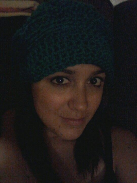 Teal slouchy crochet hat