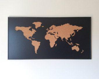 Cork Board wereldkaart zwart van OneFancyChimney op Etsy  Hart