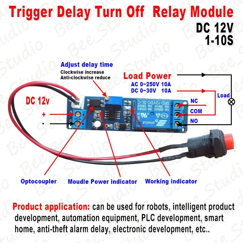Adjustable Delay Turn Off Switch Timing Timer Board Time Relay ... on well pump pressure switch diagram, off delay timer triac, light timer for lighting diagram, off delay relay, hks turbo timer diagram, ic 555 timer diagram, timer switch diagram, dimmer switch installation diagram,