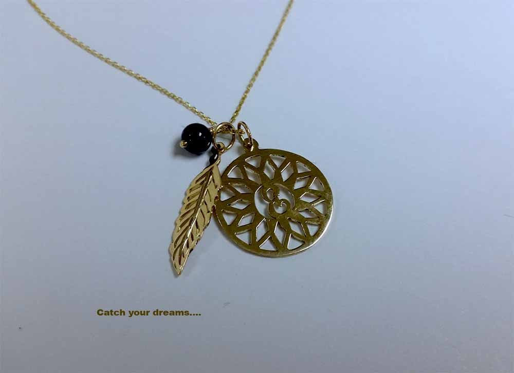 Dream Catcher Necklace Meaning Dreamcatcher necklace in solid 40k gold with a single monogram 15