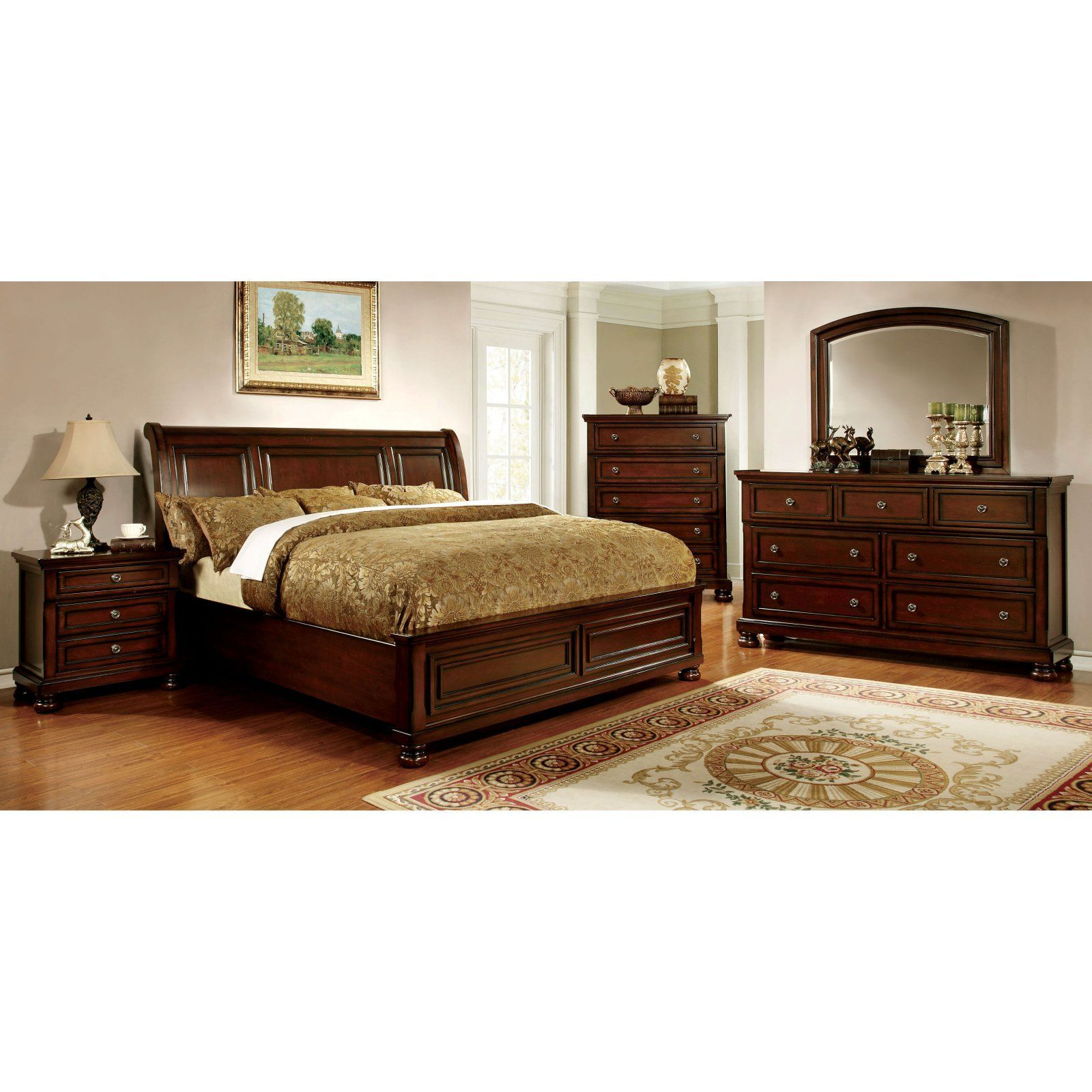 Furniture of America Birkholtz Sleigh Bed Set (With images