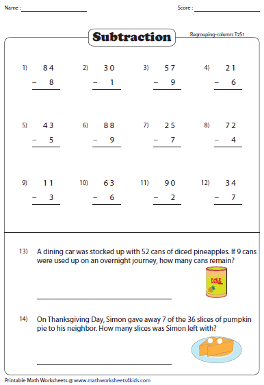 Subtraction With Word Problems 2 Digit Minus Single Digit 2nd Grade Math Worksheets Subtraction Word Problems Math Worksheets