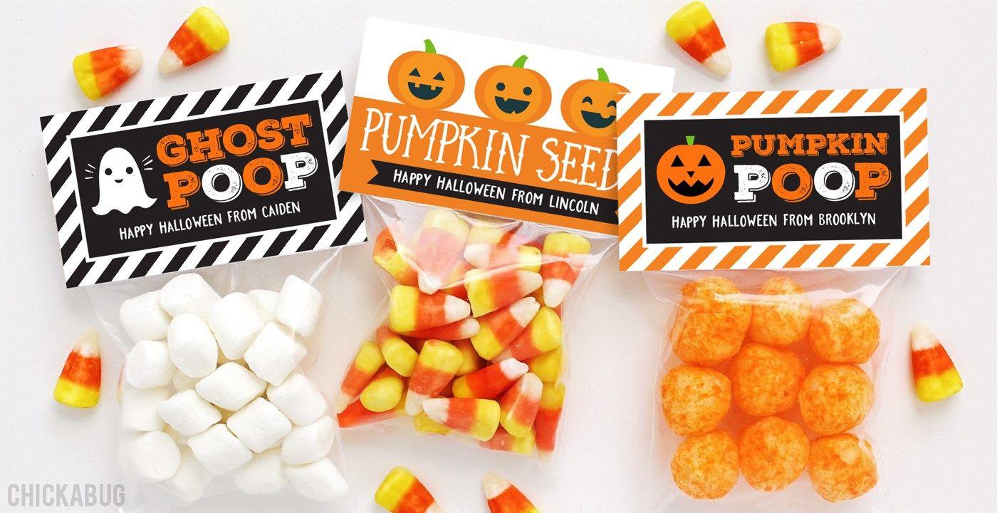 halloween labels & treat bags | set of 24 | halloween labels