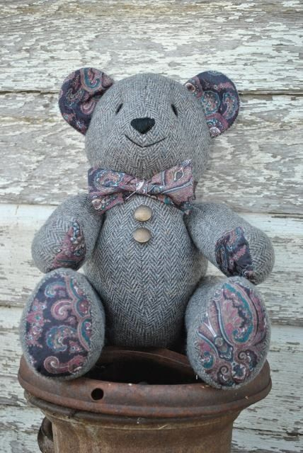 Memory Bear Made From Your Loved Ones Clothing 16 Nches