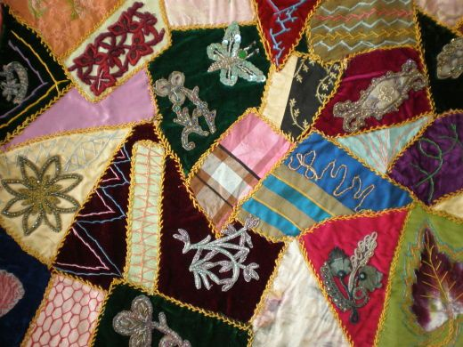 Crazy Patchwork with Embellishment