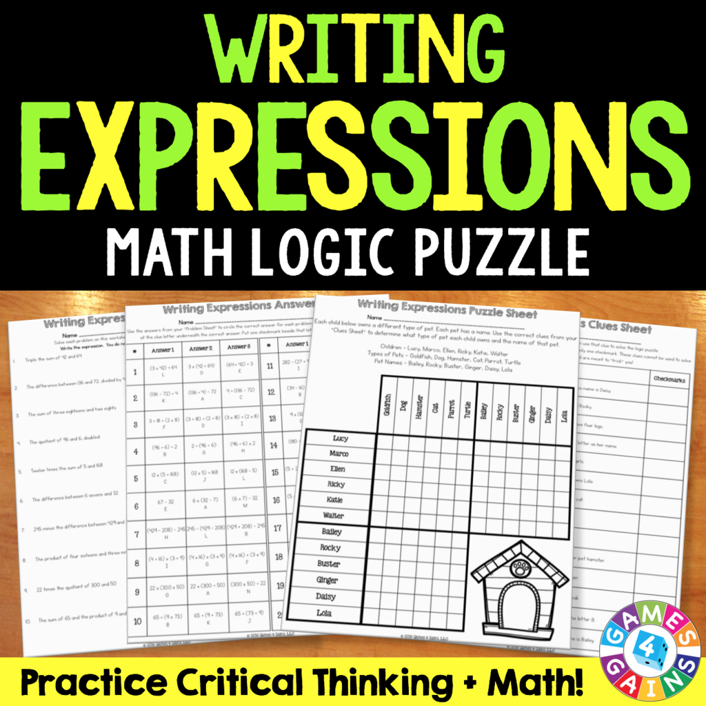 Writing Expressions From Words Logic Puzzle 5 Oa 2