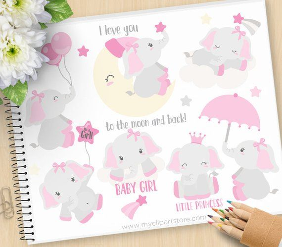 Gianna S Pink And Gray Elephant Nursery Reveal: Baby Girl Elephant Clipart, Pink Elephants, Moon, Stars