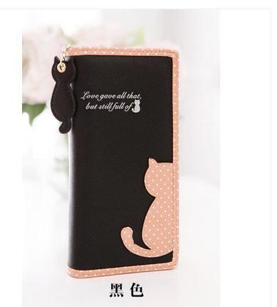 2017 New Hot Fashion Cat Printed Lady Wallet Bags Zipper Coin Purse Handbag Women's Long Style Purse