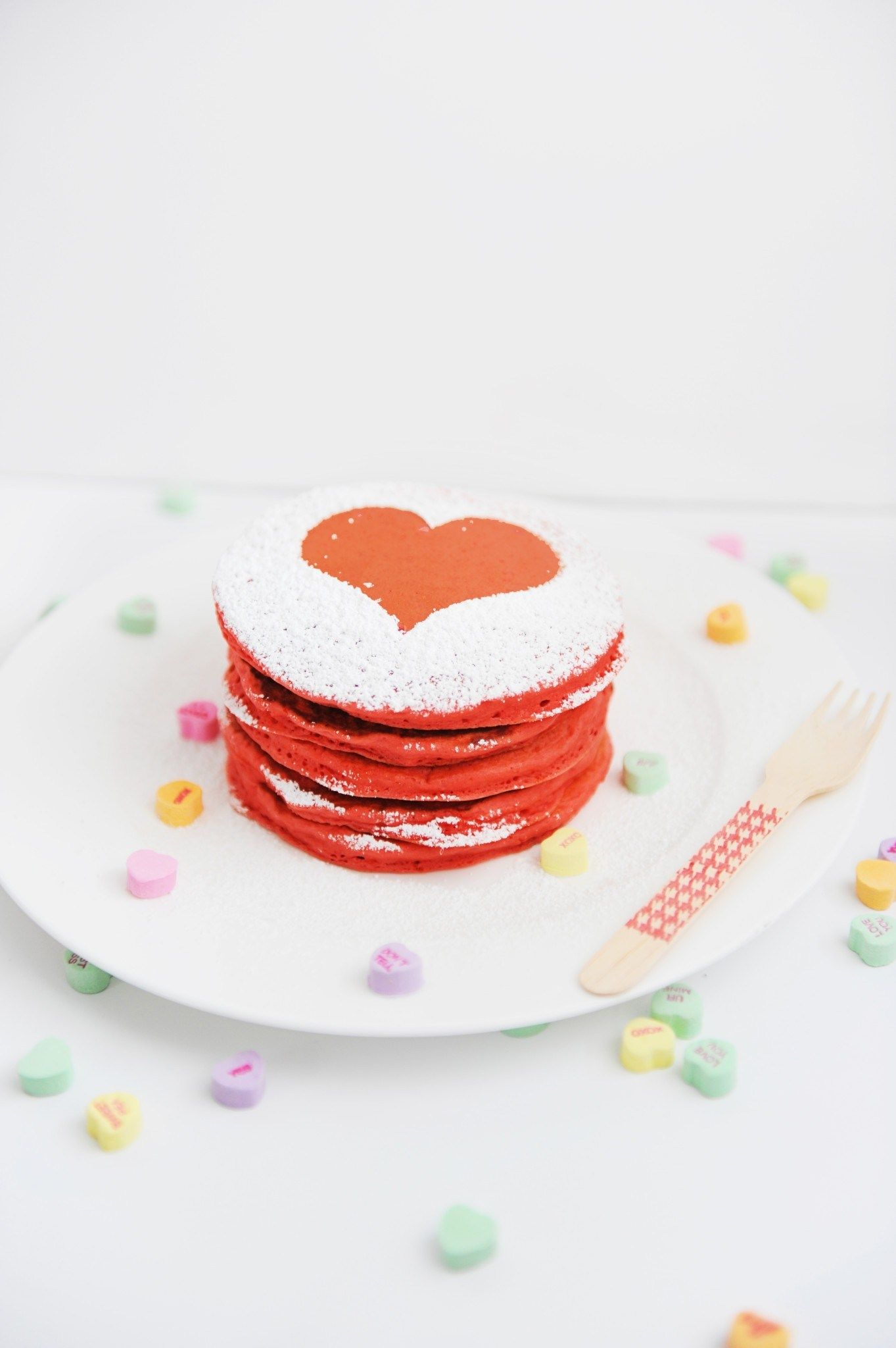 Make these Easy and delicious Red Valentine Heart Pancakes. #breakfast #pancakes #valentine #heart #recipe #partyfood #PinkPeppermintDesign