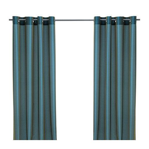 IKEA - PÄRLBUSKE, Cortina, 1par, , Las cortinas filtran la luz y proporcionan privacidad, porque evitan que se vea la estancia desde el exterior.Gracias a los ojales de la parte superior, podrás colgar las cortinas directamente en la barra.